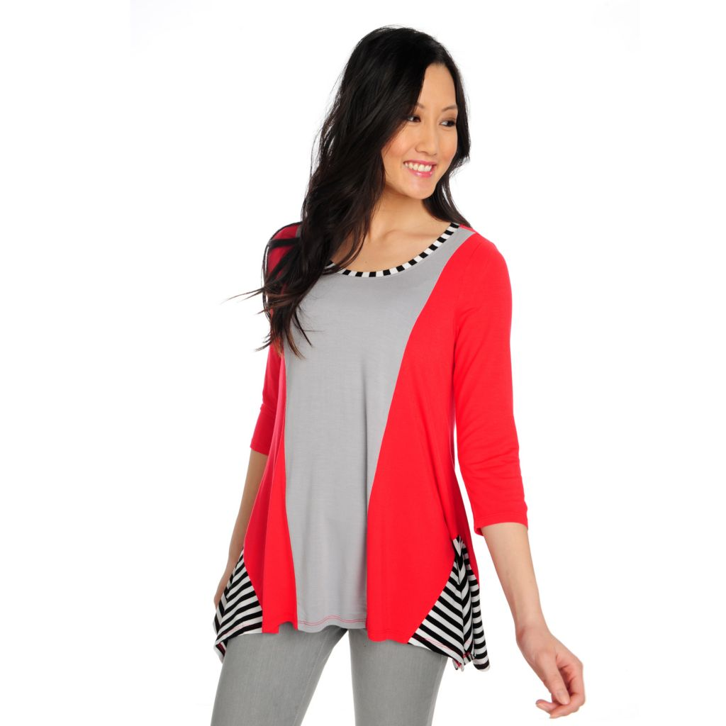 715-158 - Kate & Mallory Stretch Knit 3/4 Sleeved Uneven Hem Color Blocked Top