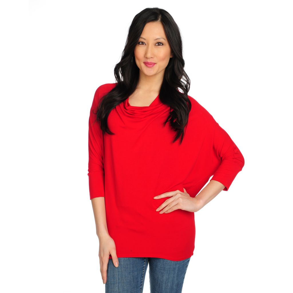 715-159 - Kate & Mallory Stretch Knit Dolman Sleeved Drape Front Top