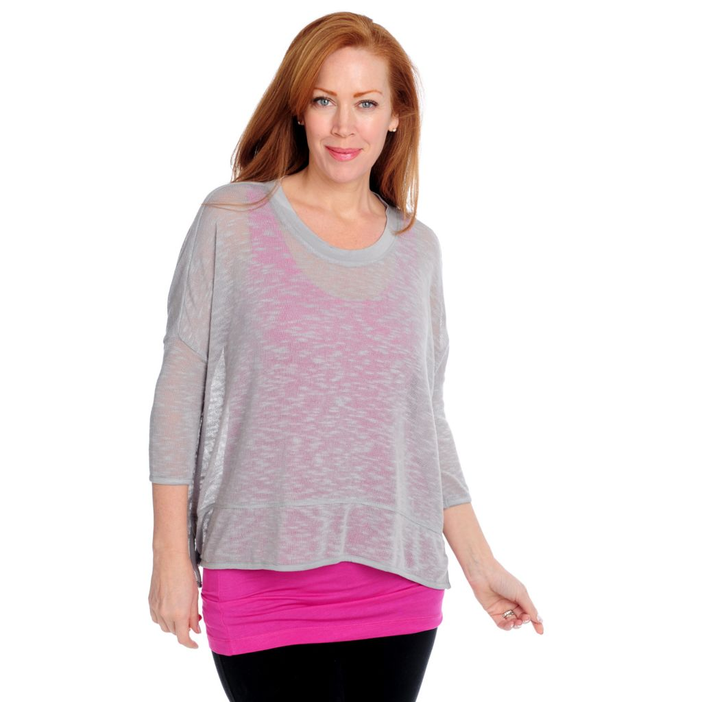715-160 - Kate & Mallory Slub Knit Drop Shoulder Hi-Lo Sweater w/ Tank Top