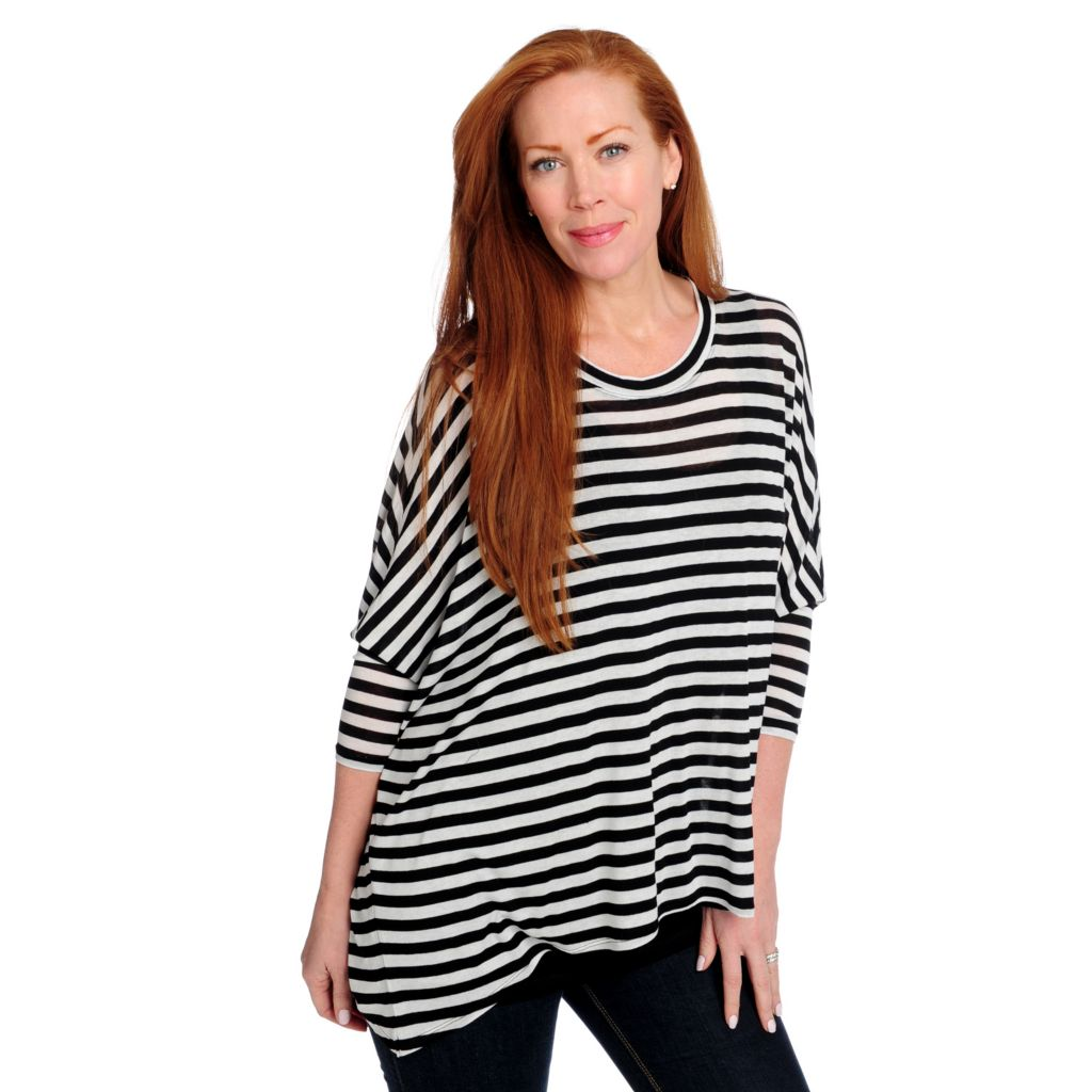 715-163 - Kate & Mallory Stretch Knit Dolman Sleeved Sharkbite Hem Top w/ Attached Tank