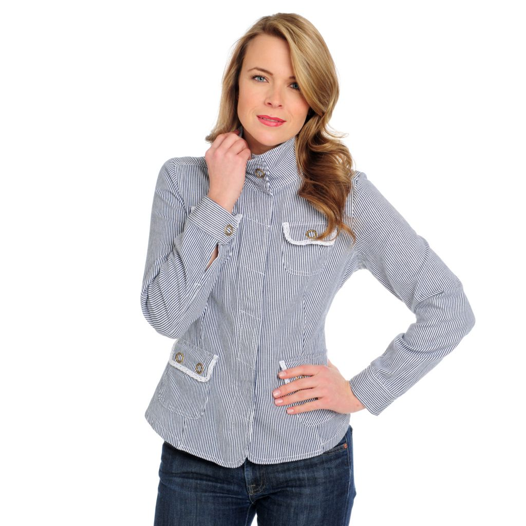 715-167 - OSO Casuals Stretch Twill Lace Detailed Button Front Safari Jacket