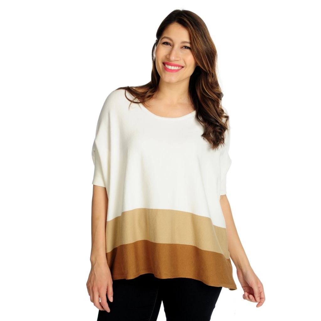 715-175 - Kate & Mallory Fine Gauge Knit Elbow Sleeved Scoop Neck Oversized Sweater