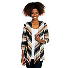 715-184 - Kate & Mallory Chevron Stripe Textured Knit 3/4 Sleeve Open Front Cardigan & Solid Knit Tank