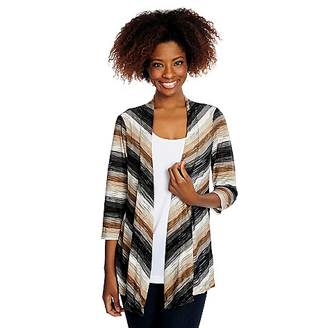 715-184 - Kate & Mallory® Chevron Stripe Textured Knit 3/4 Sleeve Open Front Cardigan & Solid Knit Tank