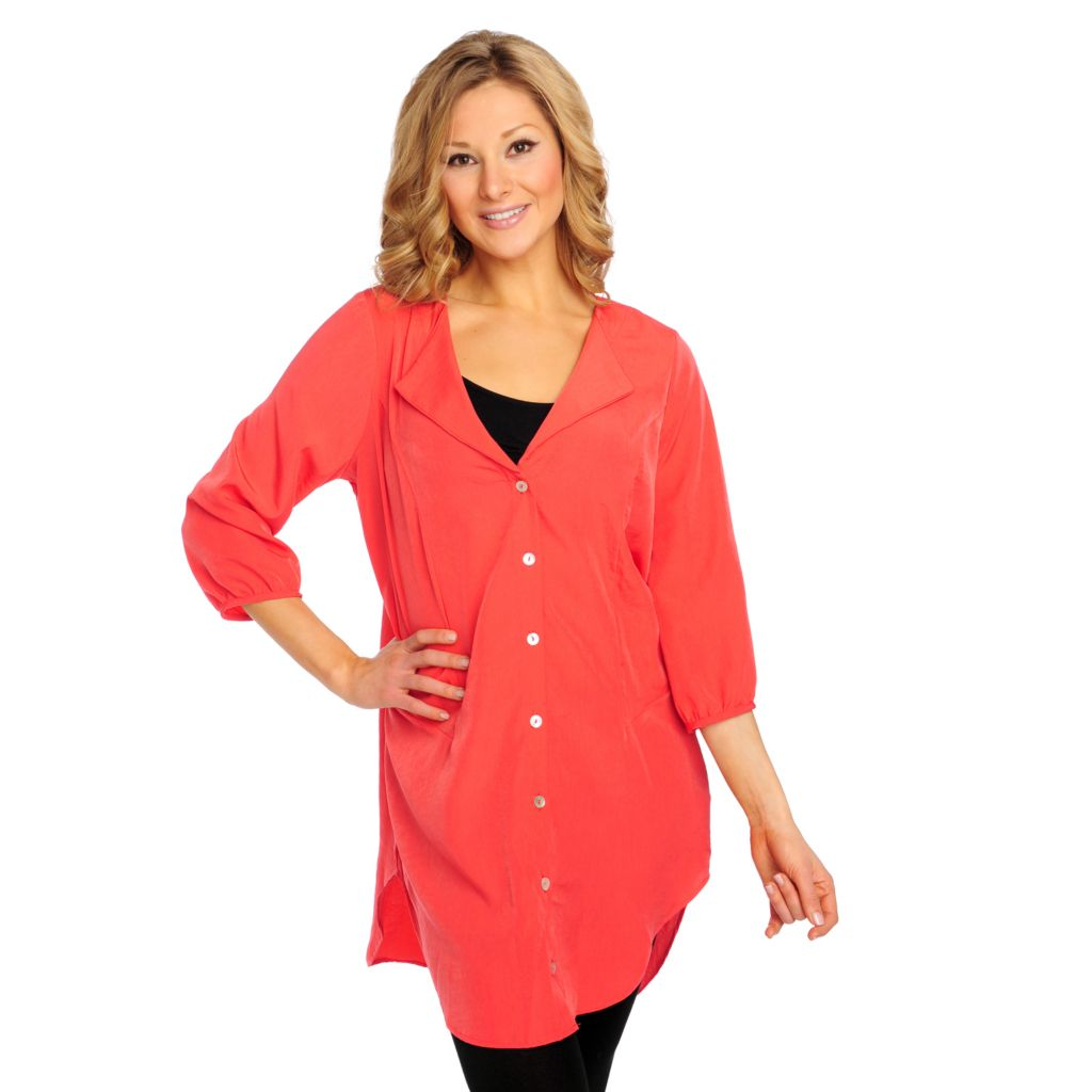 715-205 - Kate & Mallory Woven Blouson Sleeved Button Down Tunic Blouse