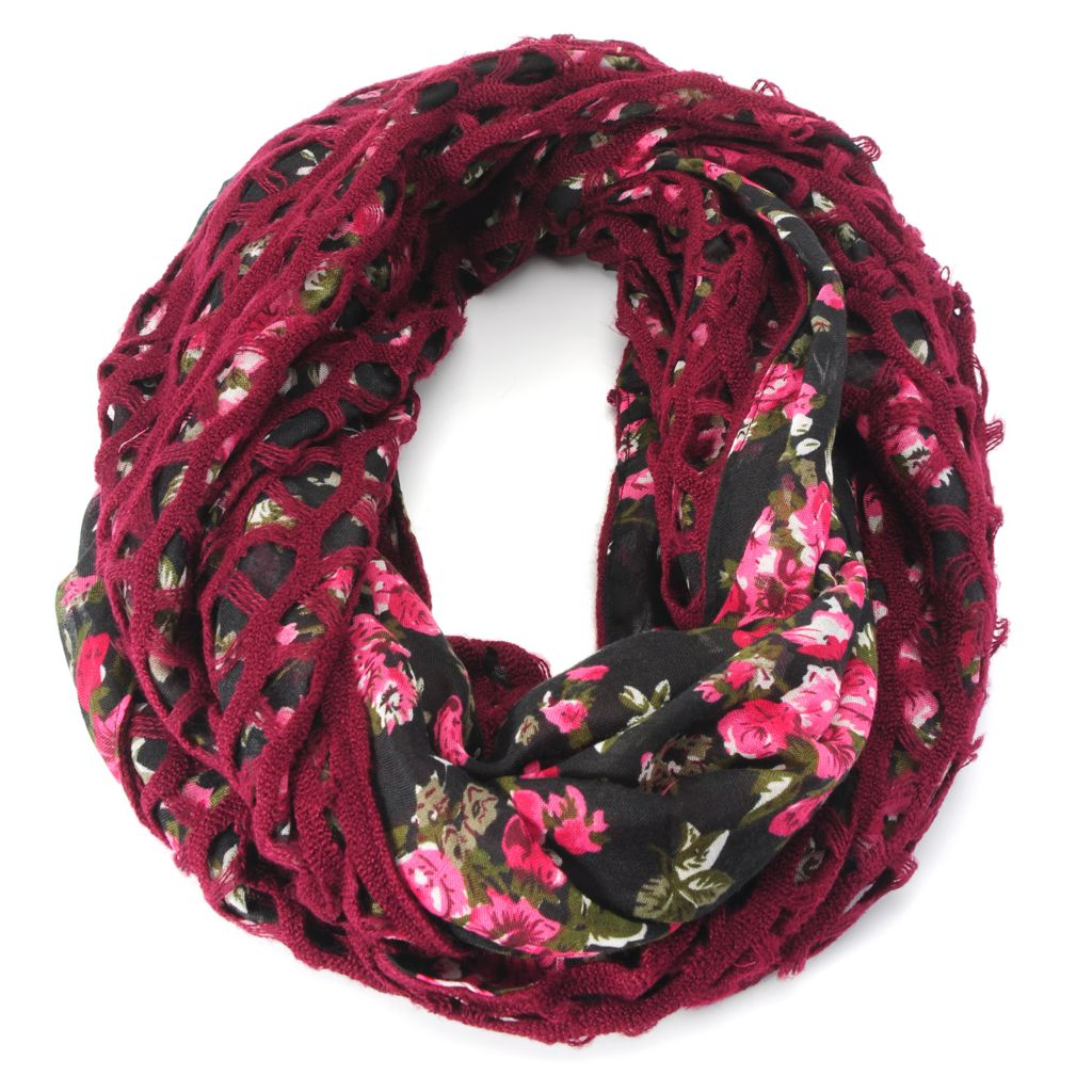 715-207 - Collection XIIX Woven & Open Knit Prairie Floral Print Infinity Loop Scarf