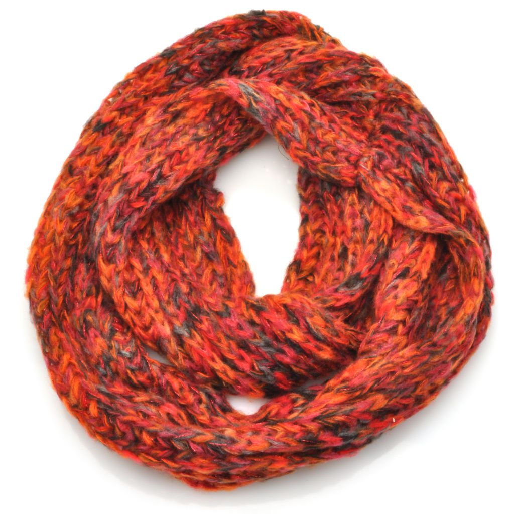715-209 - Collection XIIX Marled Chunky Knit Metallic Infinity Loop Scarf