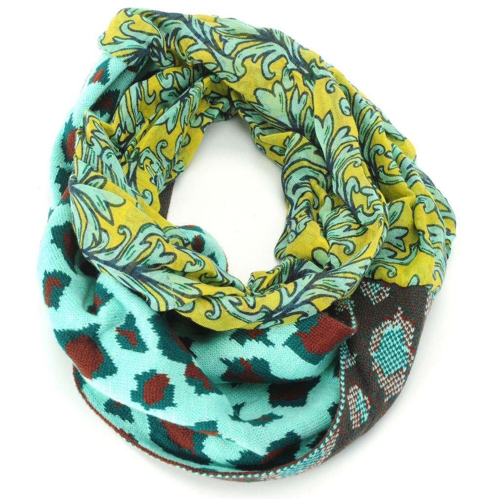 715-210 - Collection XIIX Knit Combo Animal Print Infinity Loop Scarf