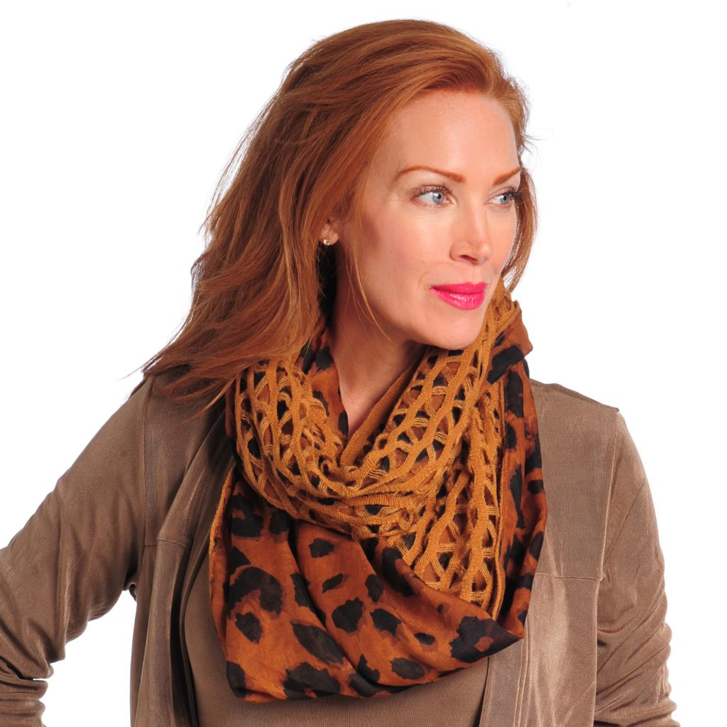 715-211 - Collection XIIX Woven & Open Knit Animal Print Infinity Loop Scarf