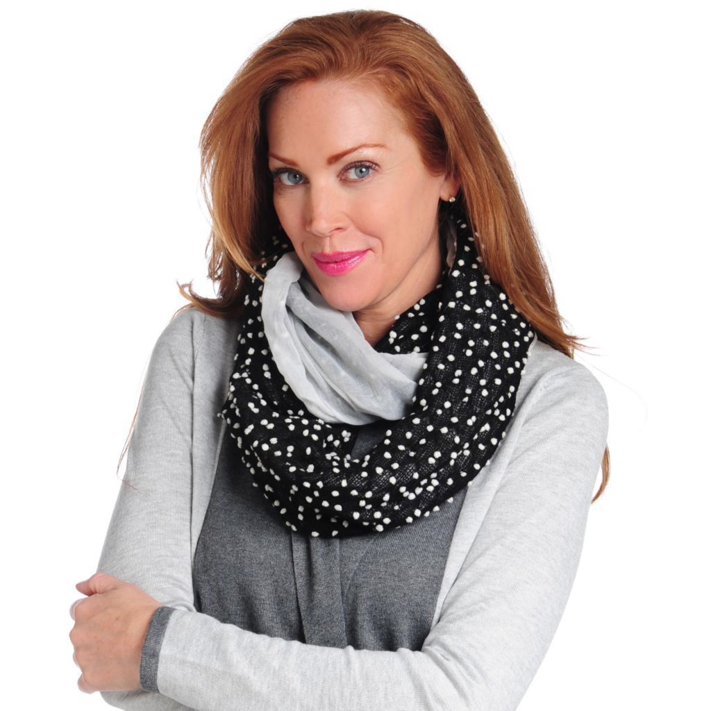 715-212 - Collection XIIX Woven & Knit Dotted Infinity Loop Scarf
