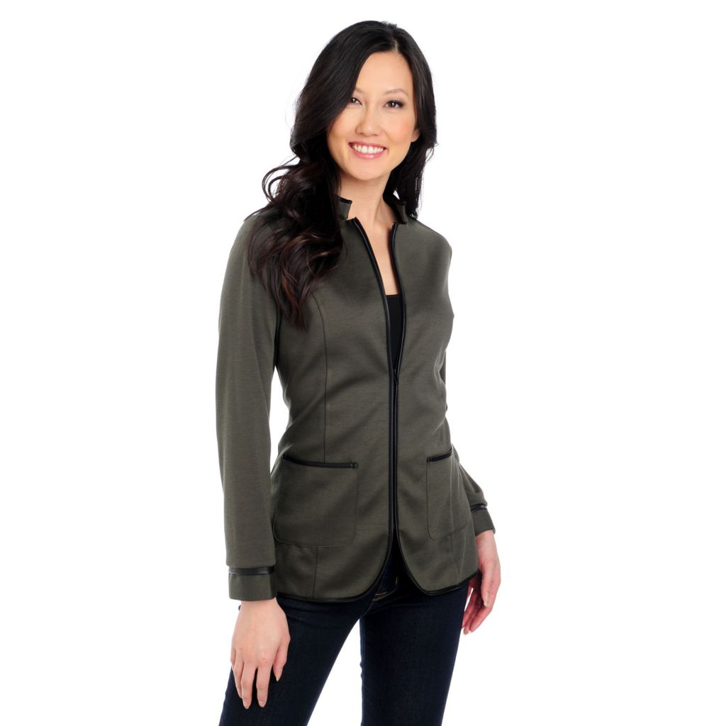 715-220 - Kate & Mallory Stretch Knit Long Sleeved Faux Leather Trim Jacket