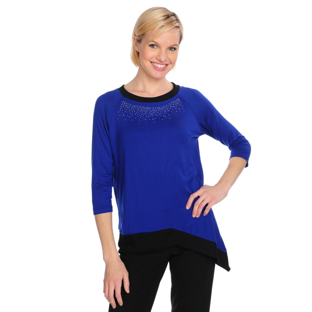 715-221 - Kate & Mallory Stretch Knit Raglan Sleeved Asymmetrical Hem Embellished Top