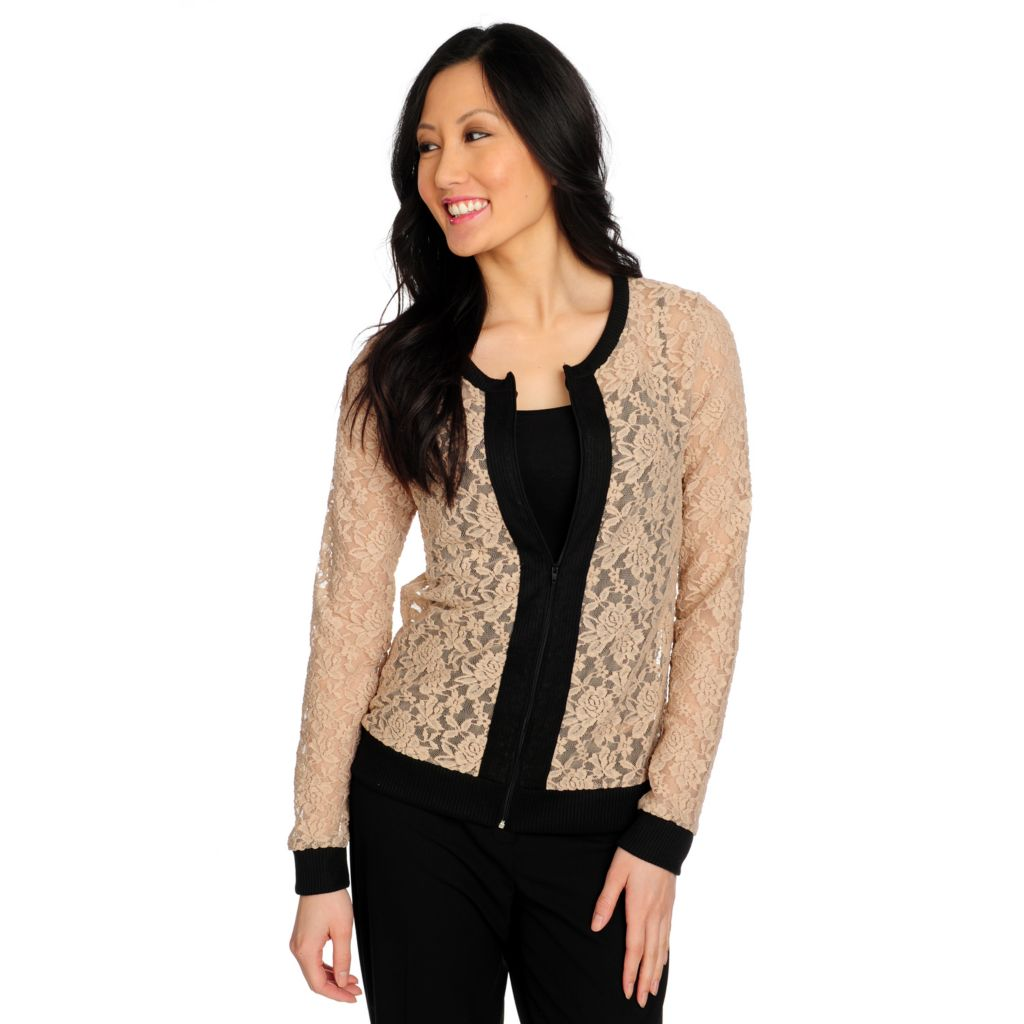 715-222 - Kate & Mallory Lace Long Sleeved Zip Front Lightweight Jacket
