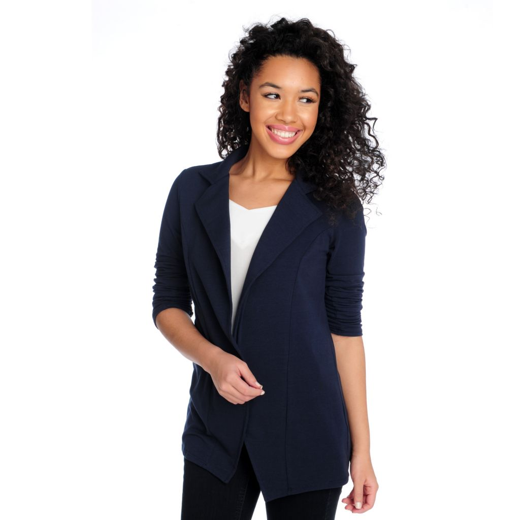 715-226 - Kate & Mallory Stretch Knit Ruched Sleeve Open Front Lightweight Blazer