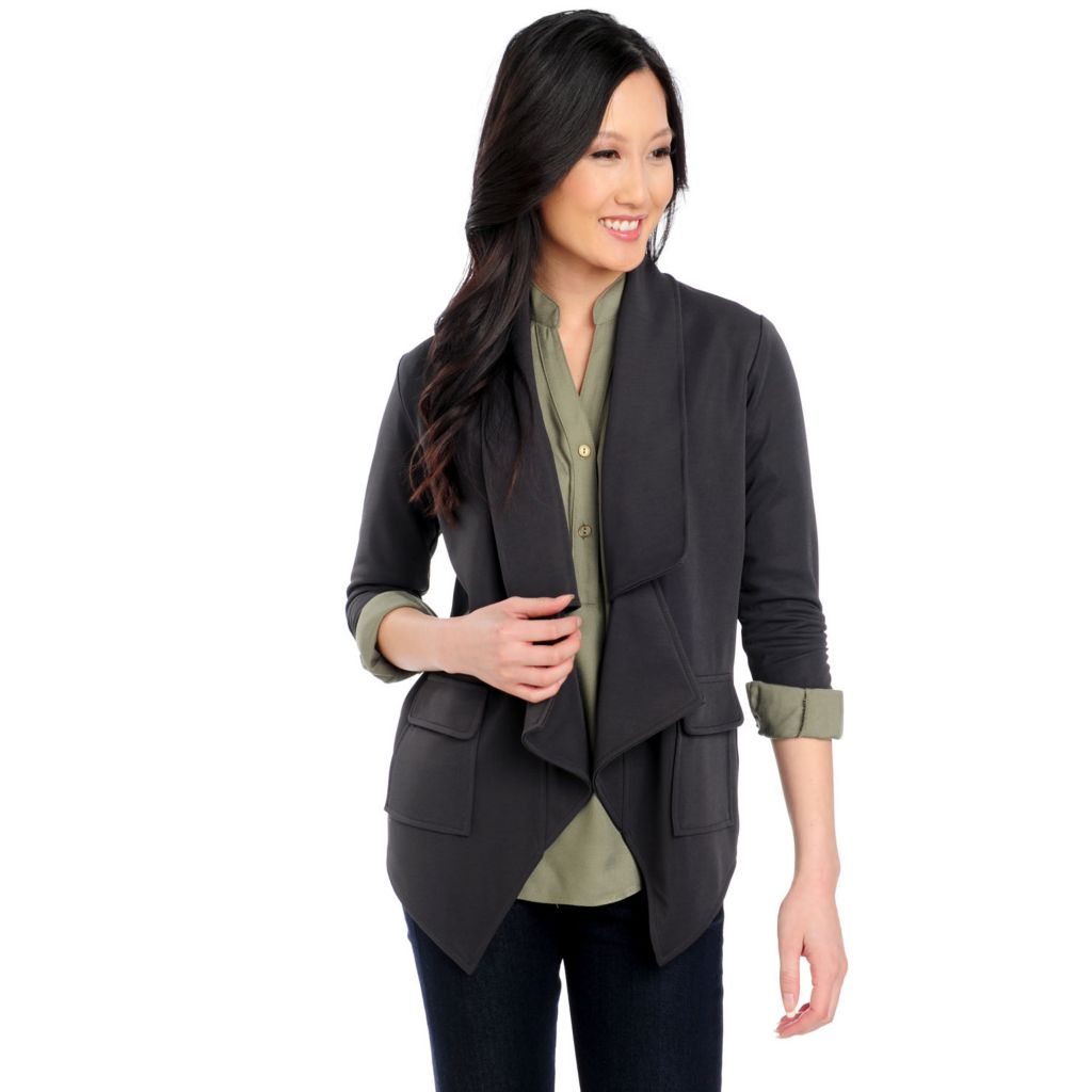715-227 - Kate & Mallory Stretch Knit Ruched Sleeve Two-Pocket Drape Front Blazer