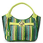 715-229 - Madi Claire Embossed Leather Double Handle Striped Hobo Handbag