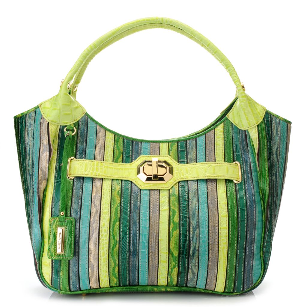 715-229 - Madi Claire Embossed Leather Double Handle Striped Hobo Handbag