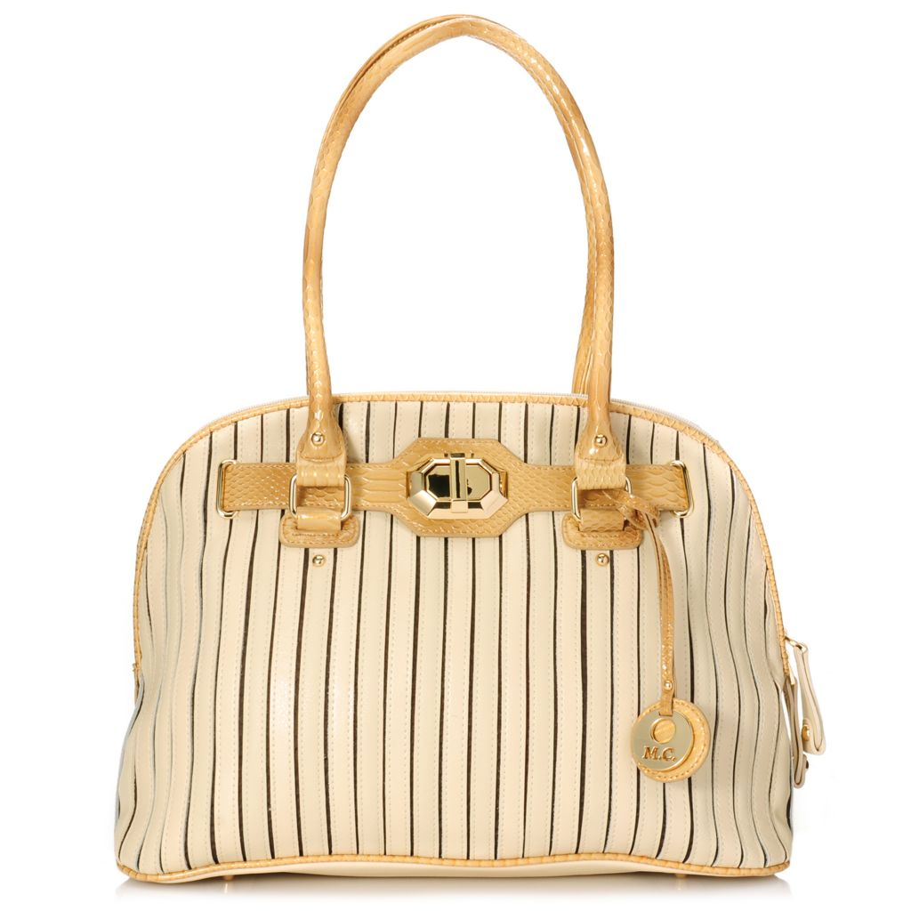 715-231 - Madi Claire Croco Embossed & Pebbled Leather Zip Around Dome Satchel