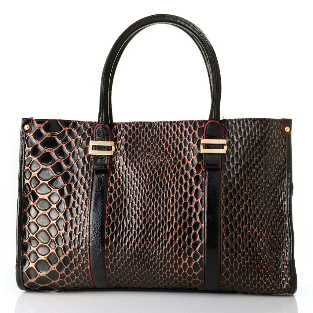 715-232 - Madi Claire Snake Embossed Patent Leather Zip Top Satchel w/ Cross Body Strap