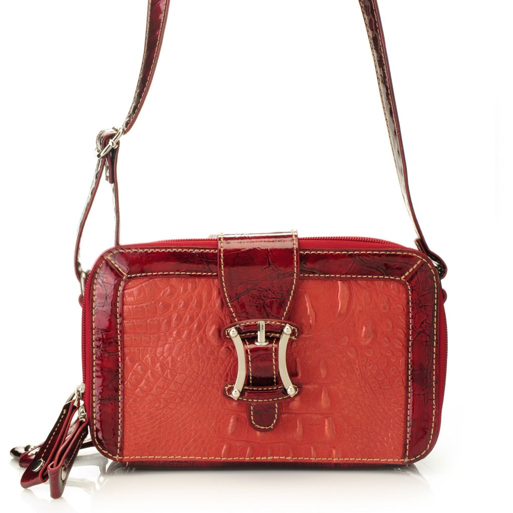 715-235 - Madi Claire Croco Embossed Leather Buckle Detailed Organizer Cross Body Bag