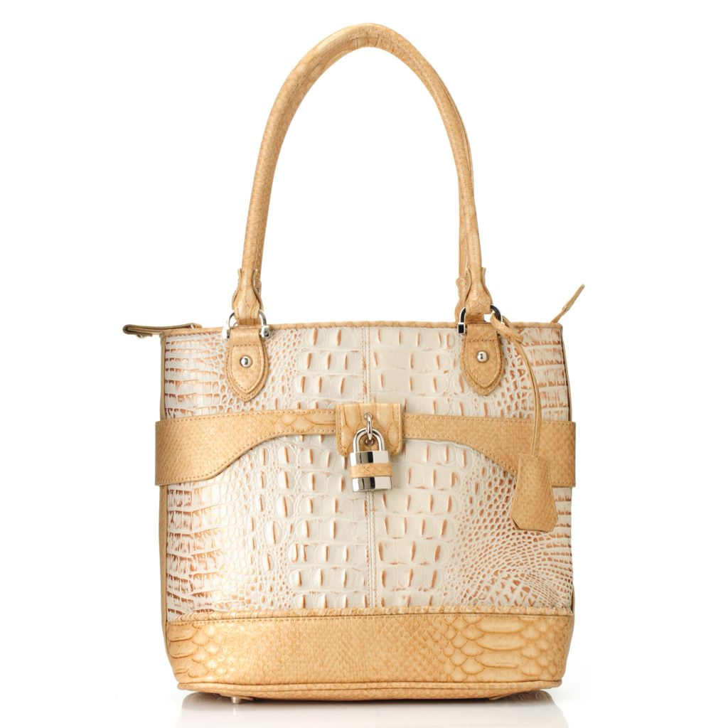 715-237 - Madi Claire Croco & Snake Embossed Leather Double Handle Zip Top Tote Bag