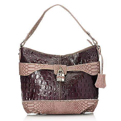 715-239 - Madi Claire Croco & Snake Embossed Leather Hobo Handbag