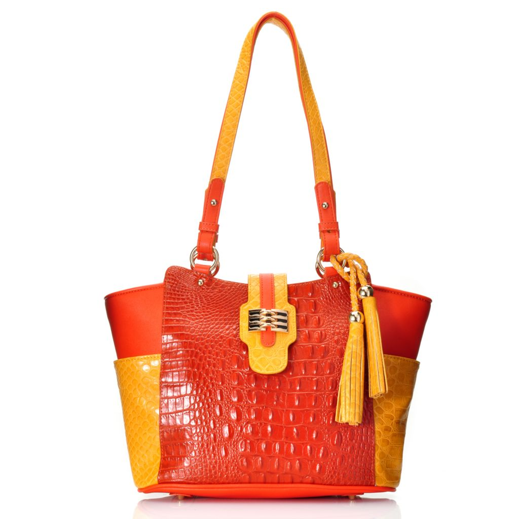 715-240 - Madi Claire Croco Embossed Leather Tasseled Color Block Zip Top Tote Bag
