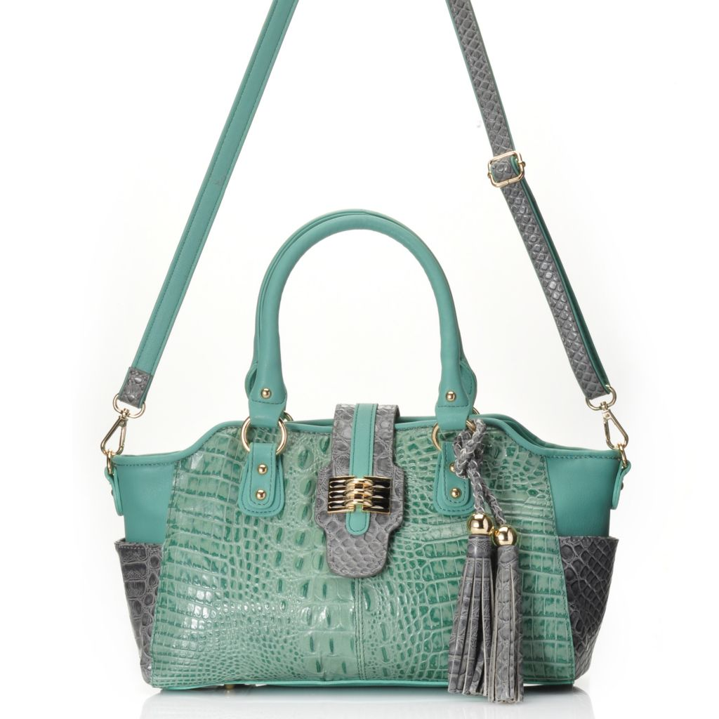 715-241 - Madi Claire Croco Embossed Leather Zip Top Color Block Satchel w/ Strap