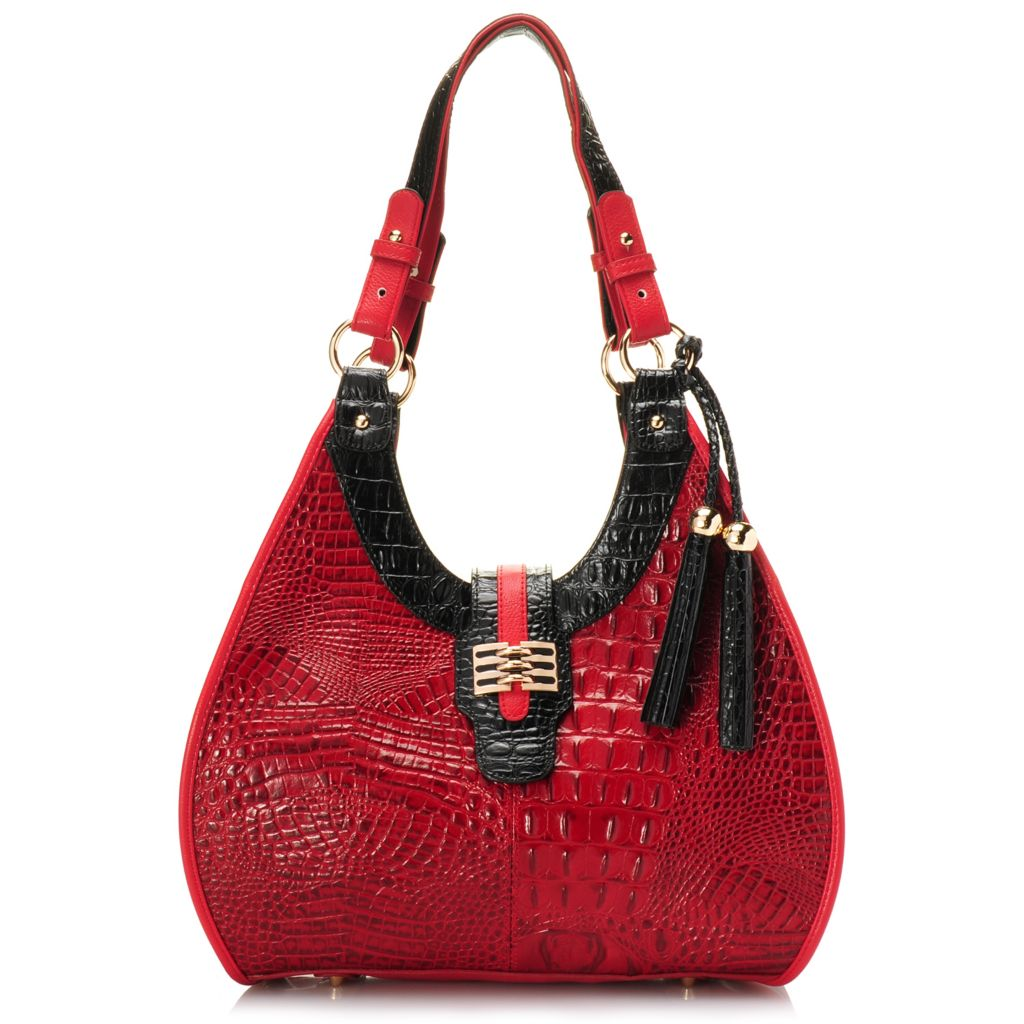715-242 - Madi Claire Croco Embossed Leather Double Handle Tasseled Hobo Handbag
