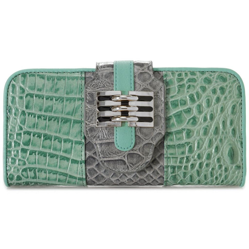 715-243 - Madi Claire Croco Embossed Leather Flap-Over Wallet