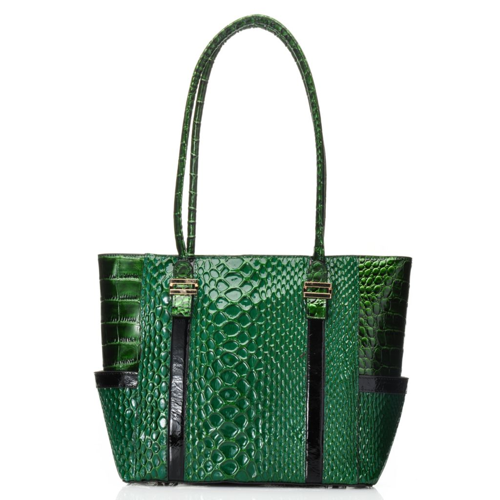 715-245 - Madi Claire Snake Embossed Patent Leather Double Handle Zip Top Tote Bag