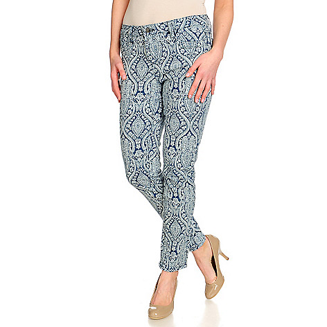 715-248 - OSO Casuals Stretch Denim Print to Solid Reversible Slim Straight Leg Pants