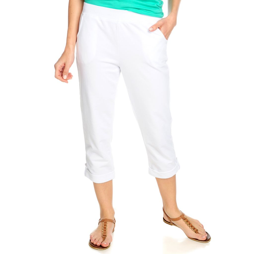 715-254 - OSO Casuals French Terry Elastic Waist Roll Tab Cuffed Capri Pants