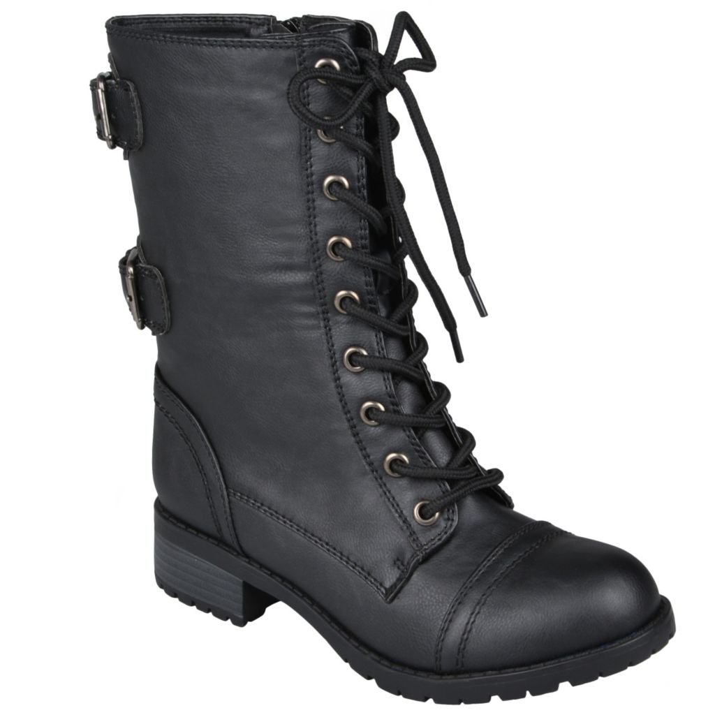 715-272 - Hailey Jeans Co. Women's Lace-up Buckle Detail Combat Boots