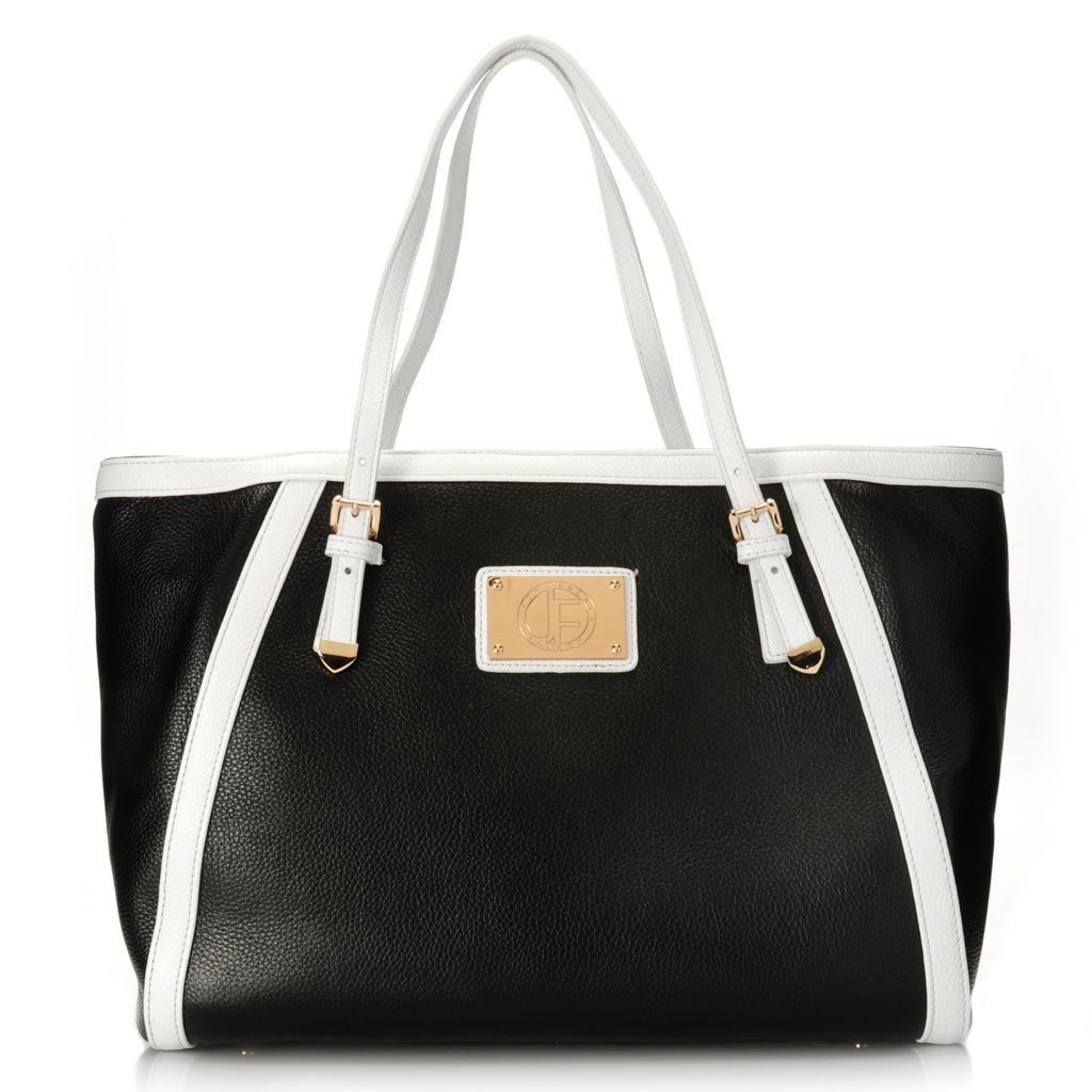 715-303 - Jack French London Pebbled & Patent Leather Double Handle Tote Bag