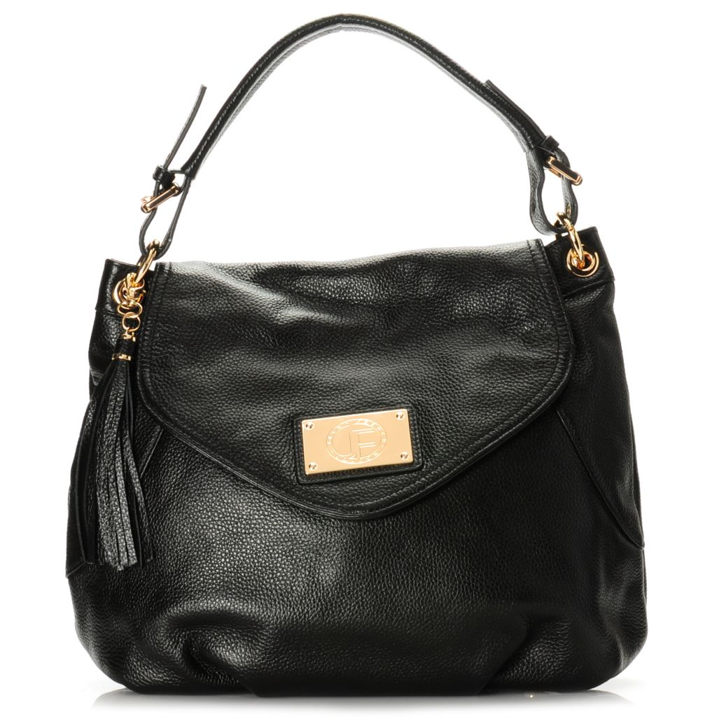 715-304 - Jack French London Pebbled Leather Ruched & Tasseled Hobo Handbag w/ Shoulder Strap