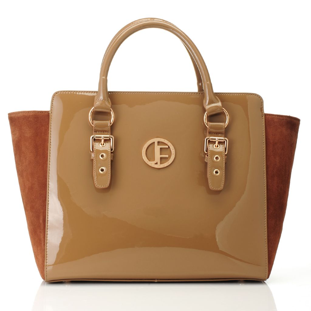 715-305 - Jack French London Patent & Suede Leather East-West Shopper Tote Bag w/ Shoulder Strap