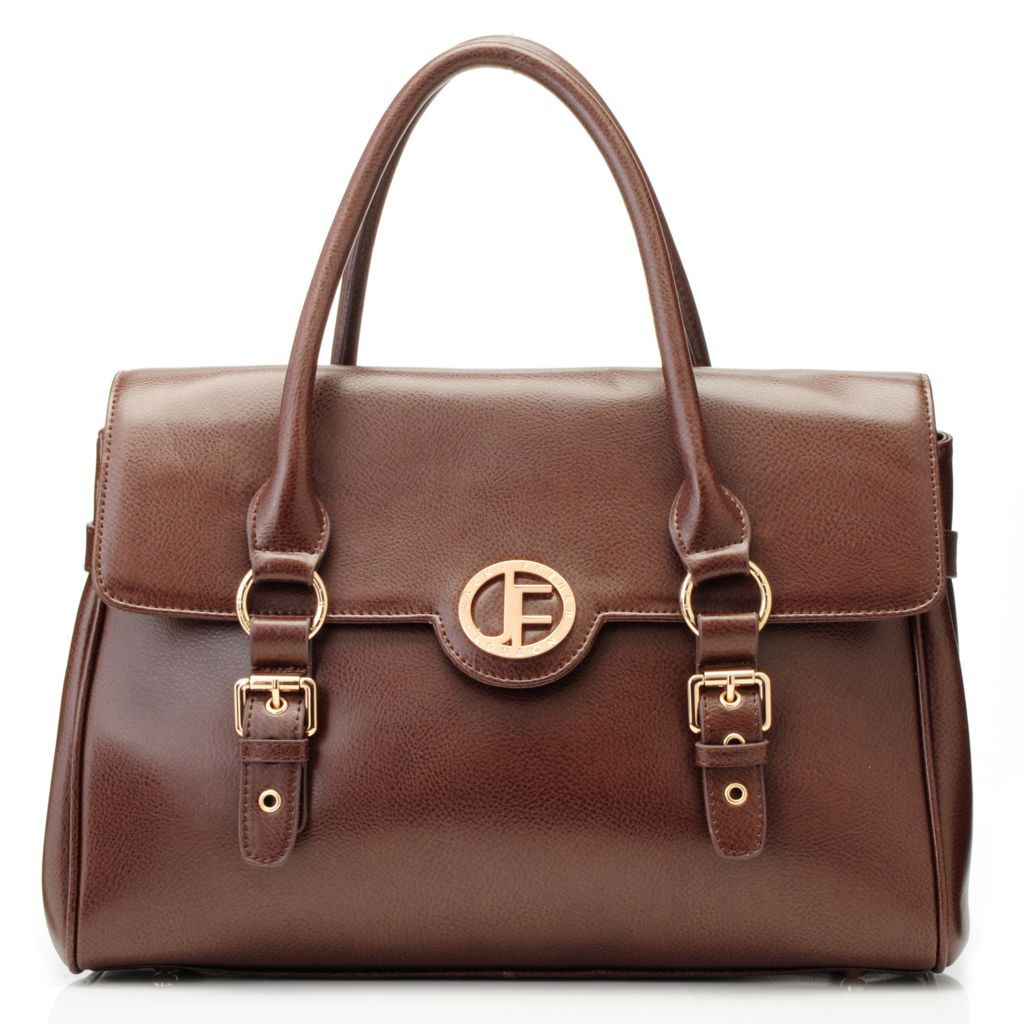 715-313 - Jack French London Pebbled Leather Double Handle Flap Over Satchel w/ Shoulder Strap