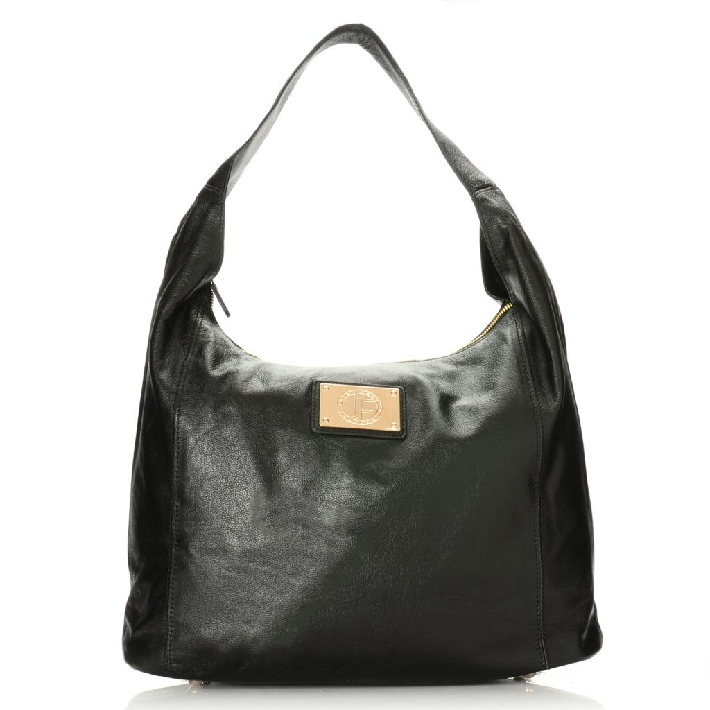 715-318 - Jack French London Grained Leather Zip Top Hobo Handbag