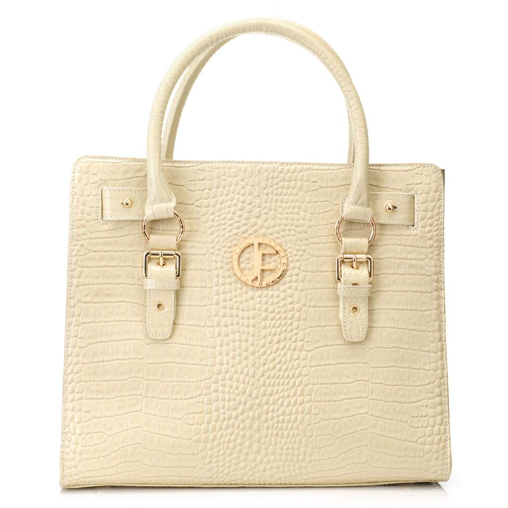 715-322 - Jack French London Crocodile Embossed Leather Zip Top Double Handle Shopper Handbag