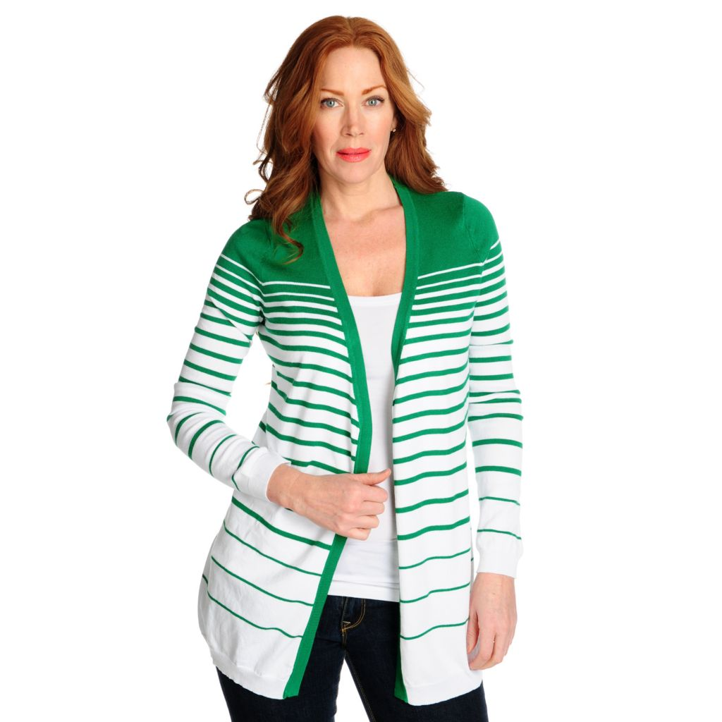 715-323 - Kate & Mallory Fine Gauge Knit Long Sleeved Open Front Striped Cardigan