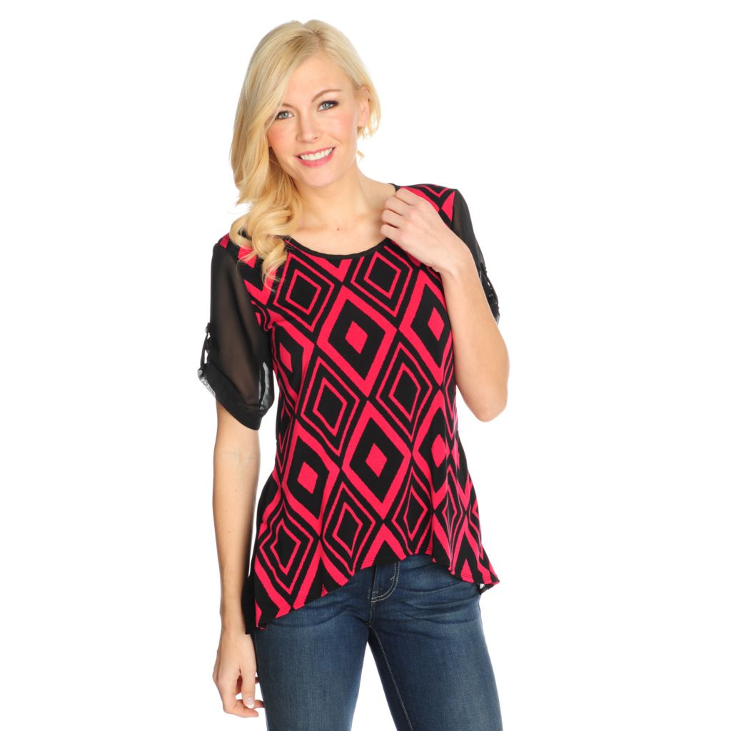 715-326 - Kate & Mallory Mixed Media Roll Tab Sleeved Scoop Neck Hi-Lo Top