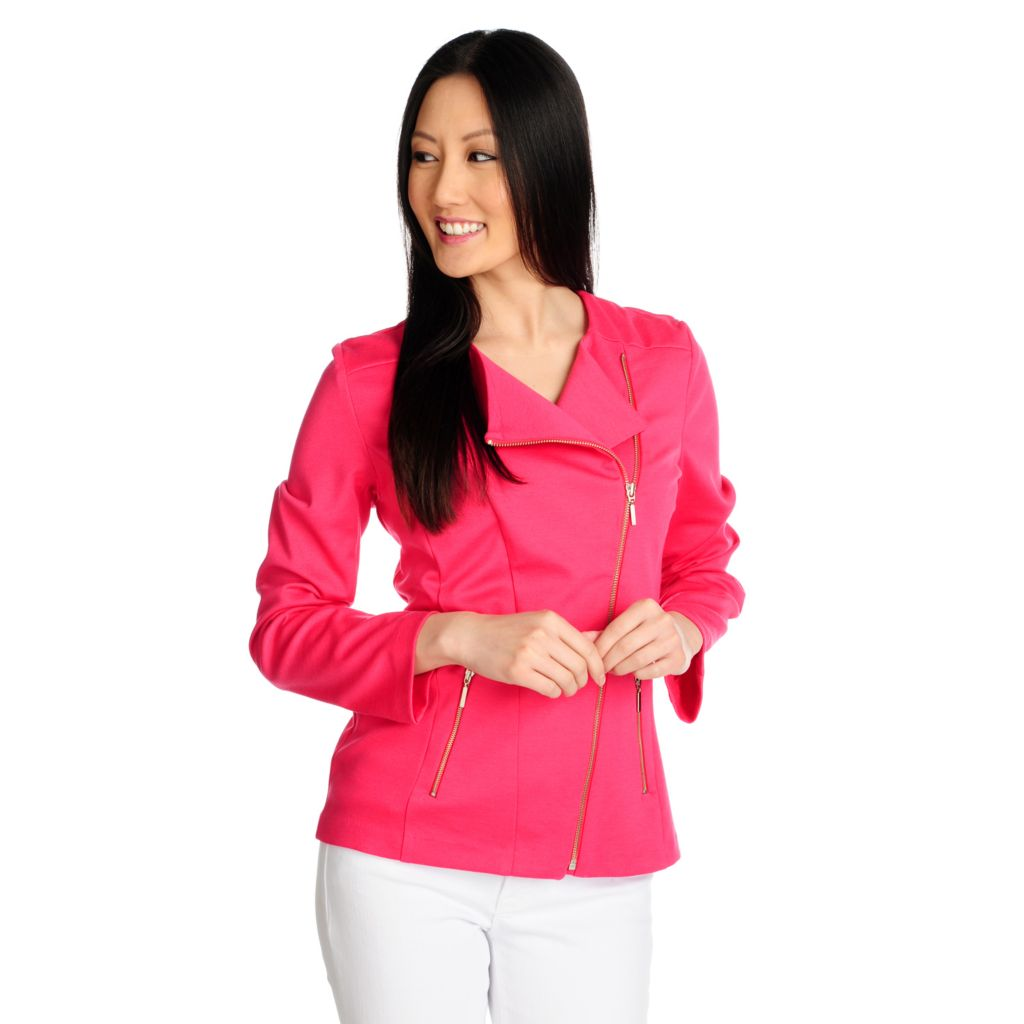 715-329 - Kate & Mallory Ponte Knit Long Sleeved Two-Pocket Moto Jacket