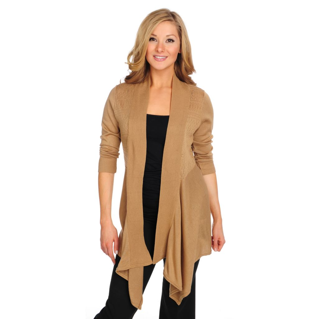 715-337 - OSO Casuals Pointelle Knit Elbow Sleeved Open Cascade Cardigan Sweater