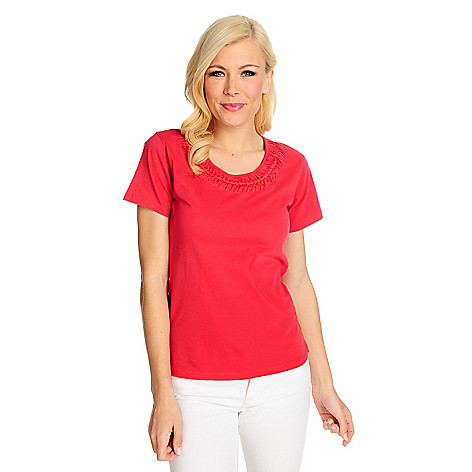 715-348 - OSO Casuals Cotton Knit Short Sleeved Braided Neck Tee
