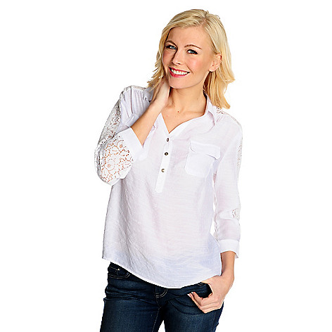 715-349 - OSO Casuals™ Gauze & Lace 3/4 Sleeved Collared Pullover Top