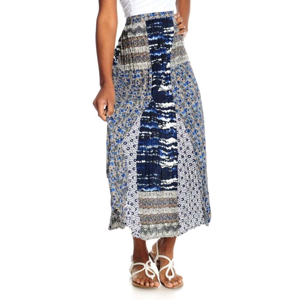 715-350 - OSO Casuals Woven Elastic Waist Multi Print Pieced Maxi Skirt