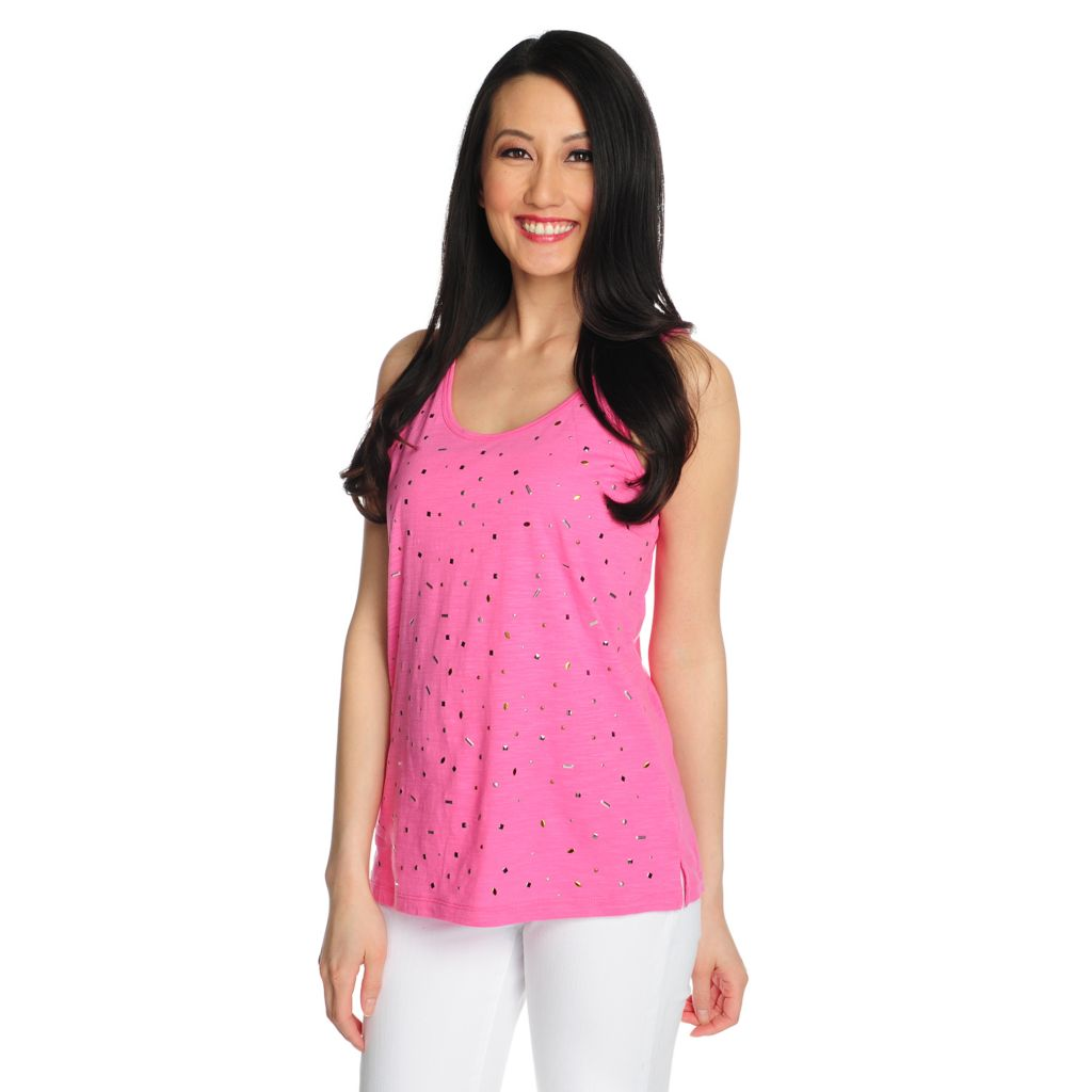 715-352 - OSO Casuals Slub Knit Sleeveless Scoop Neck Embellished Top