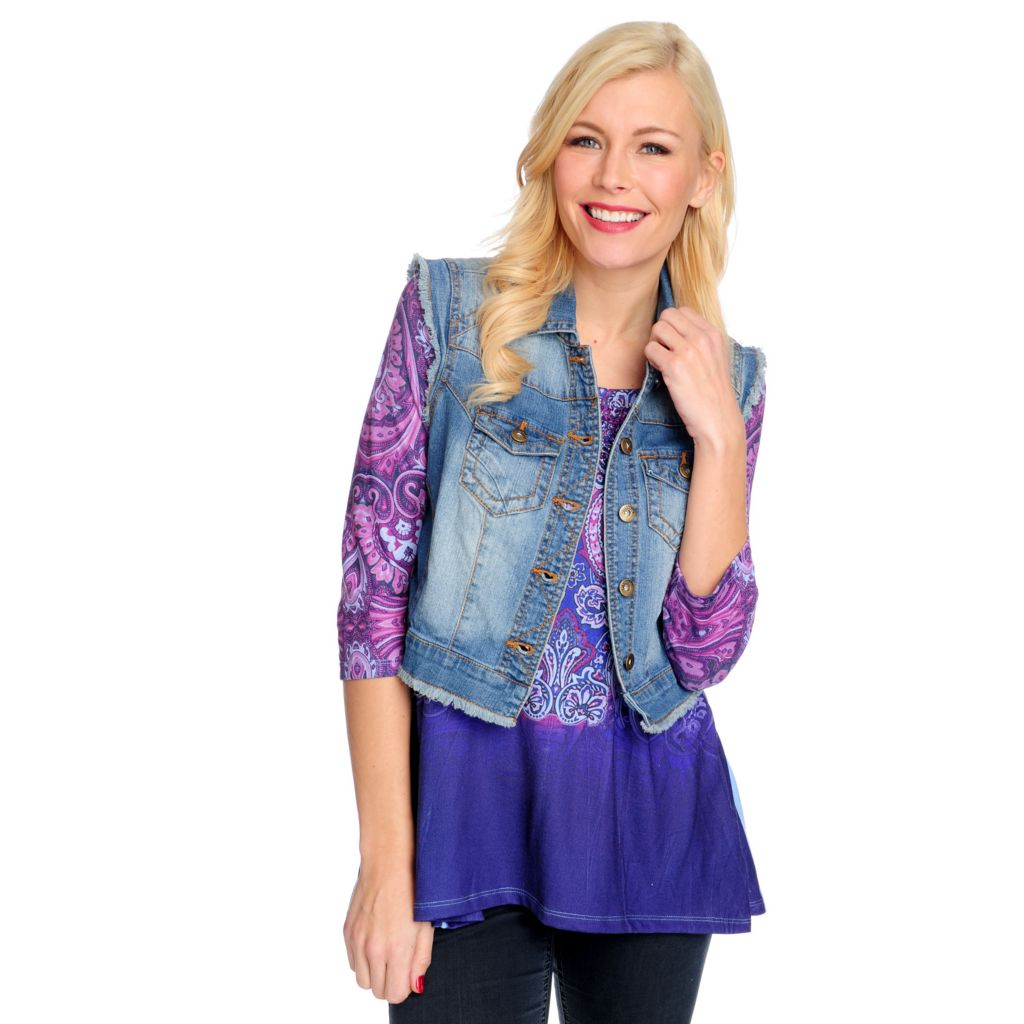 715-354 - One World Stretch Twill Button Front Fringe Trim Denim Vest