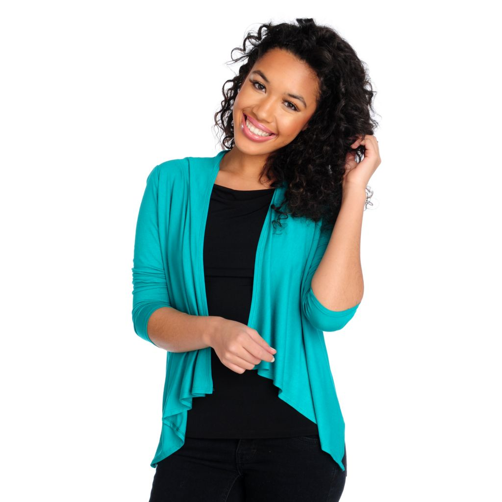 715-361 - Kate & Mallory Stretch Knit Long Sleeved Ruched Back Cascade Cardigan